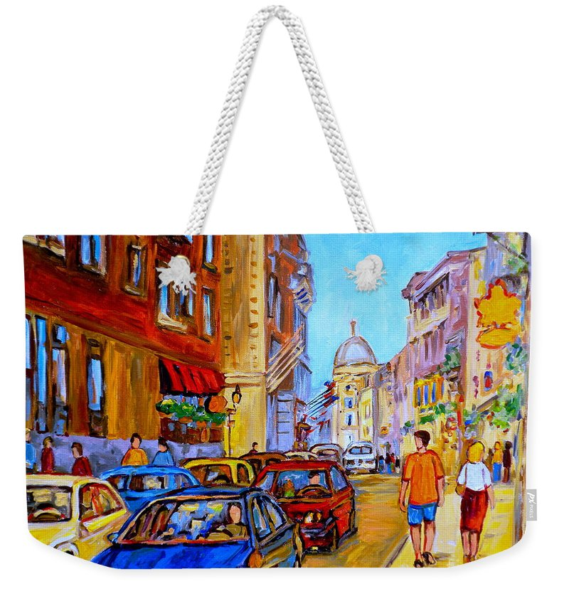 Old Montreal Street Scenes Weekender Tote Bag featuring the painting Old Montreal by Carole Spandau