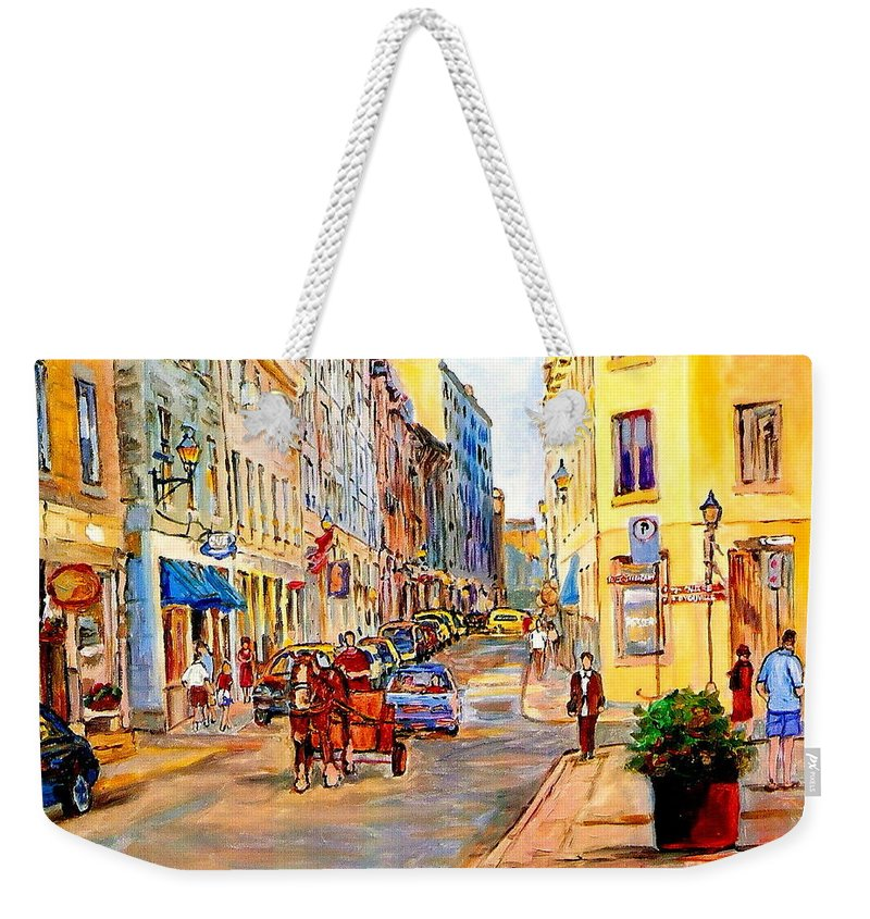 Quebec Weekender Tote Bag featuring the painting Old Montreal Paintings Youville Square Rue De Commune Vieux Port Montreal Street Scene by Carole Spandau