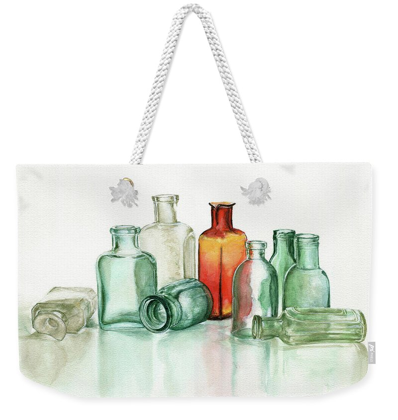 Material Weekender Tote Bag featuring the photograph Old Pharmacys Glassware by Sergey Ryumin