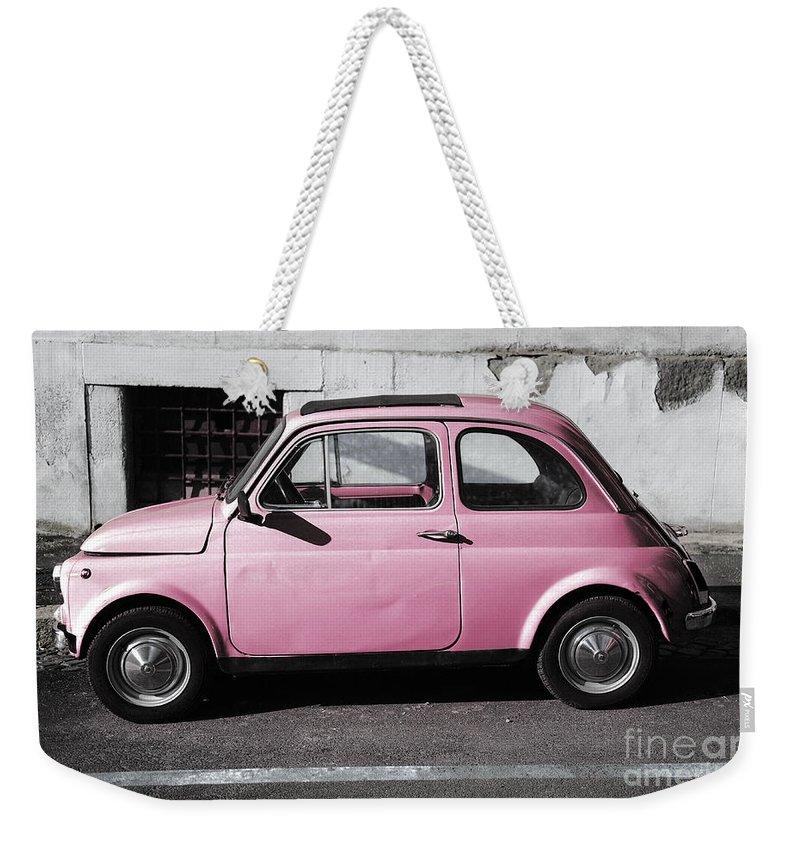 Old Pink Fiat 500 Weekender Tote Bag