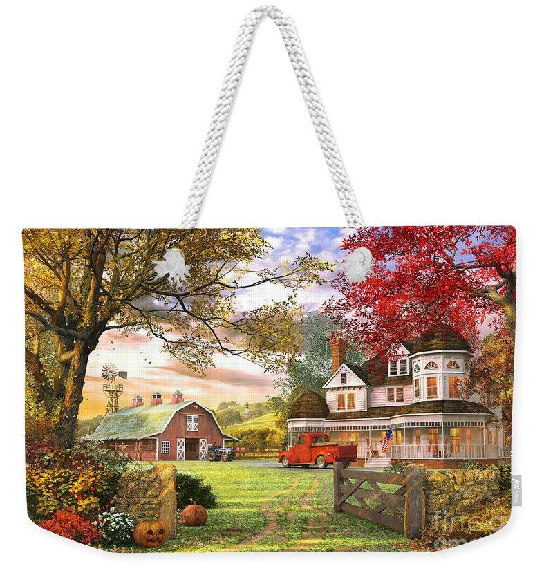 Pumpkin Weekender Tote Bag featuring the digital art Old Pumpkin Farm by MGL Meiklejohn Graphics Licensing