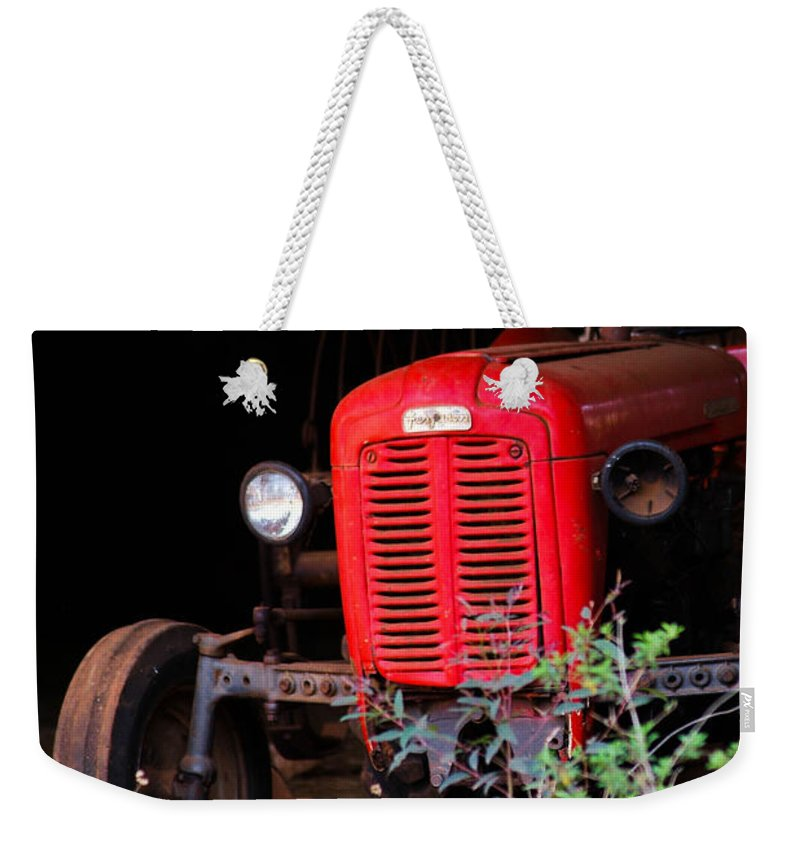 Tractor Weekender Tote Bag featuring the photograph Old Red by Tracey Beer