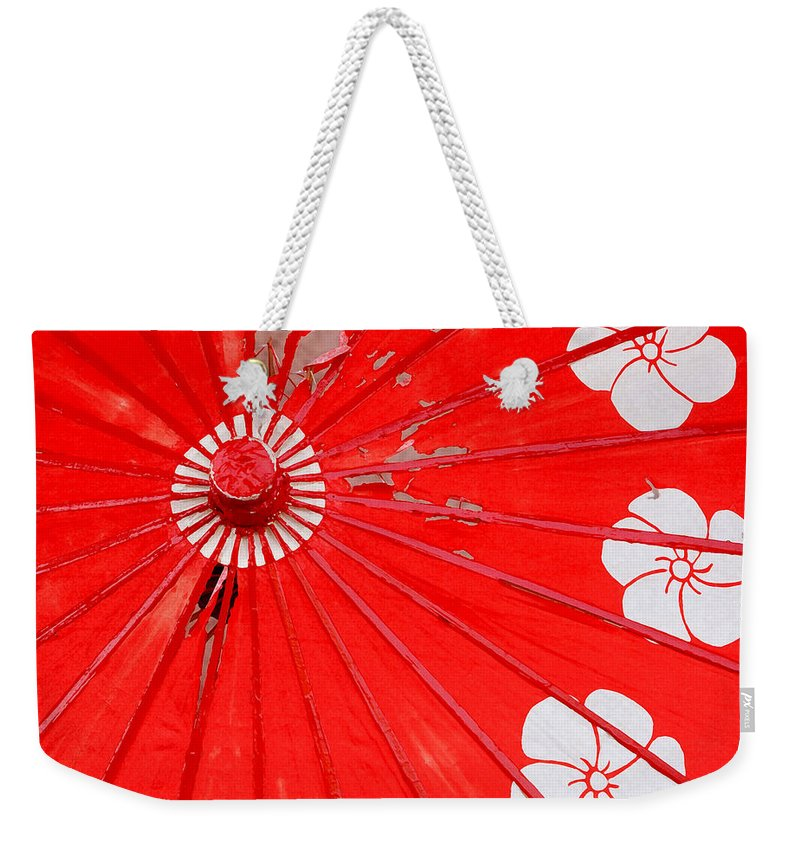 Los Angeles Weekender Tote Bag featuring the photograph Old Red Umbrella by Art Block Collections