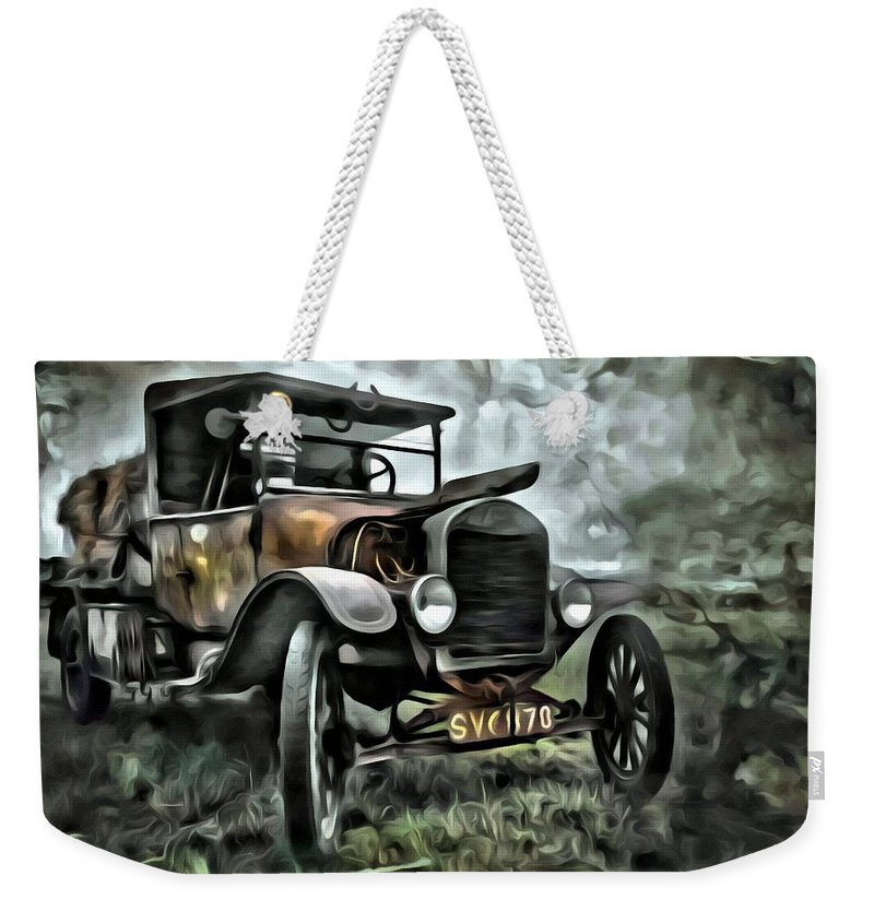 Car Weekender Tote Bag featuring the painting Old Rusty by Florian Rodarte
