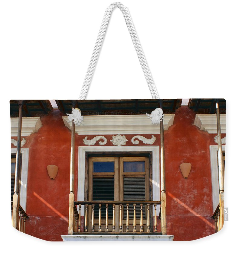 Balcony Weekender Tote Bag featuring the photograph Old San Juan Balcony by Stuart Litoff
