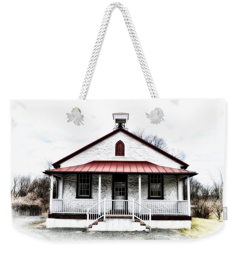 Old Weekender Tote Bag featuring the photograph Old Schoolhouse Chester Springs by Bill Cannon