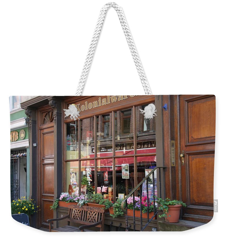 Hamburg Weekender Tote Bag featuring the photograph Old Shop Hamburg by Christiane Schulze Art And Photography