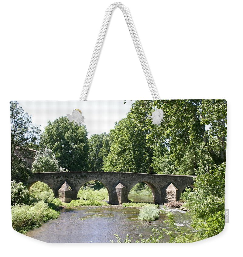 Stone Arch Bridge Weekender Tote Bag featuring the photograph Old Stone Arch Bridge by Christiane Schulze Art And Photography