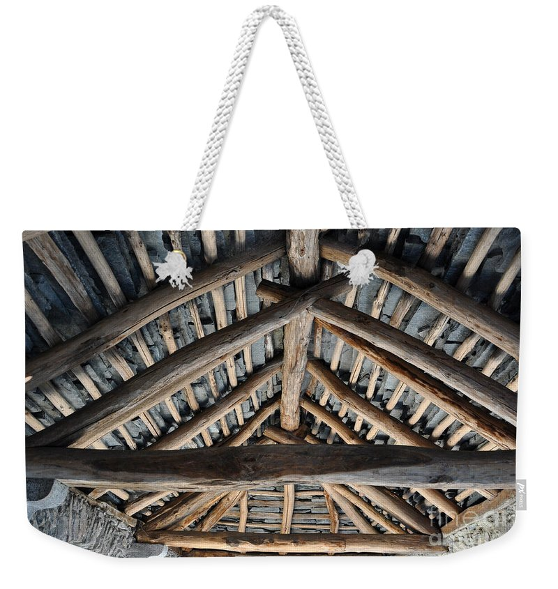 Roof Weekender Tote Bag featuring the photograph Old Stone Roof by Mats Silvan