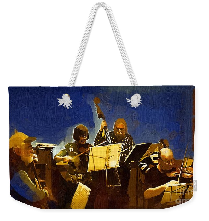 Musicians Weekender Tote Bag featuring the painting Old Time Music by RC DeWinter