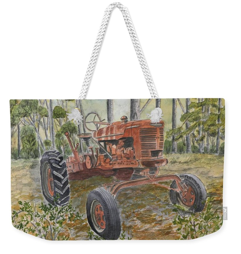 Old Weekender Tote Bag featuring the painting Old Tractor Vintage Art by Derek Mccrea