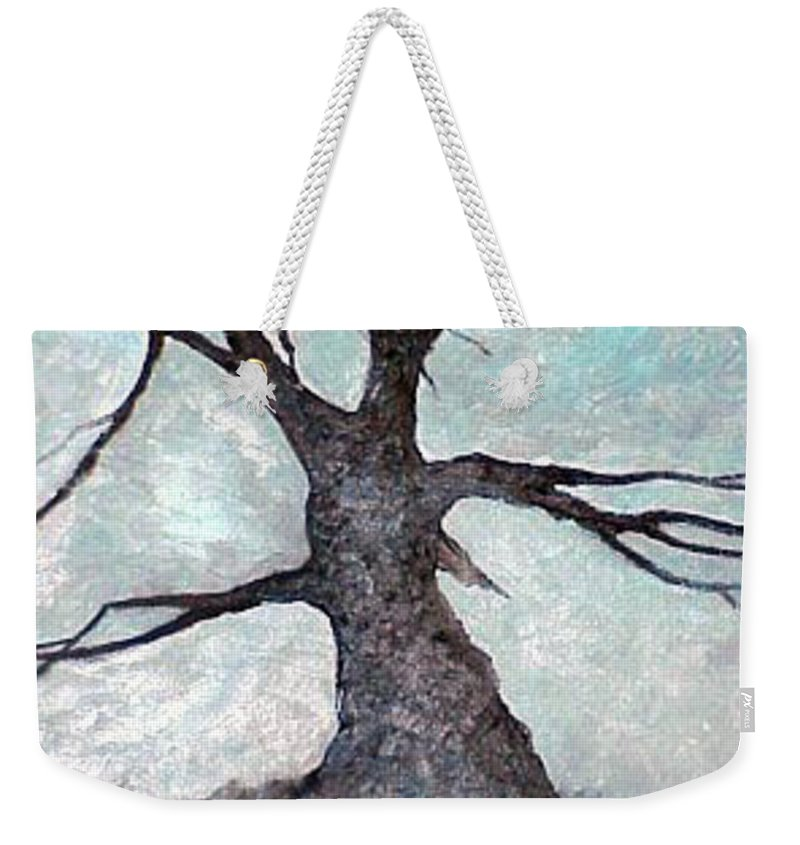 Landscape Weekender Tote Bag featuring the painting Old tree by Sergey Bezhinets