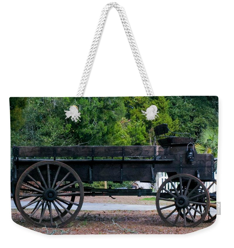 Wagon Weekender Tote Bag featuring the photograph Old Wagon by Mechala Matthews