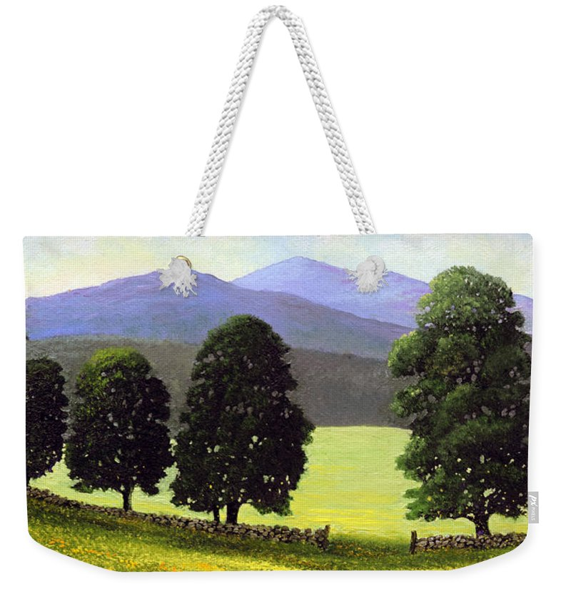 Landscape Weekender Tote Bag featuring the painting Old Wall Old Maples by Frank Wilson