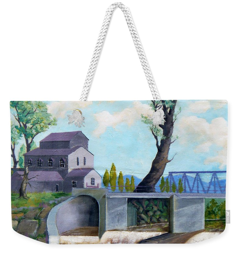 Old Weekender Tote Bag featuring the painting Old Water Mill by Sergey Bezhinets