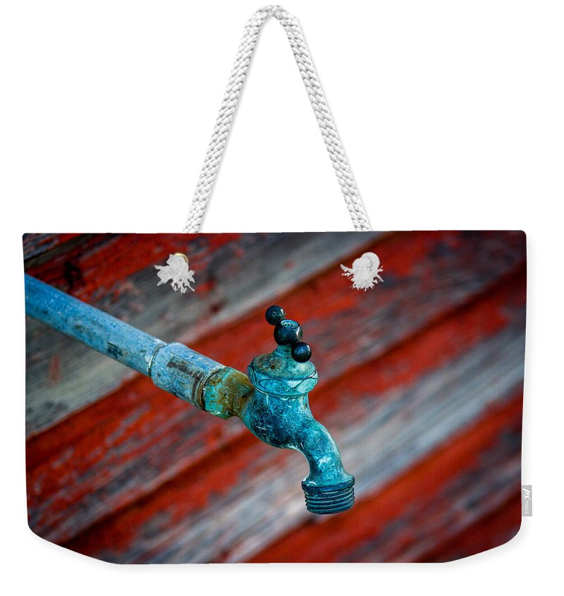 Water Weekender Tote Bag featuring the photograph Old Water Valve by Chad Rowe