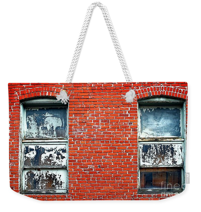 Abstract Weekender Tote Bag featuring the photograph Old Windows Bricks by Henrik Lehnerer