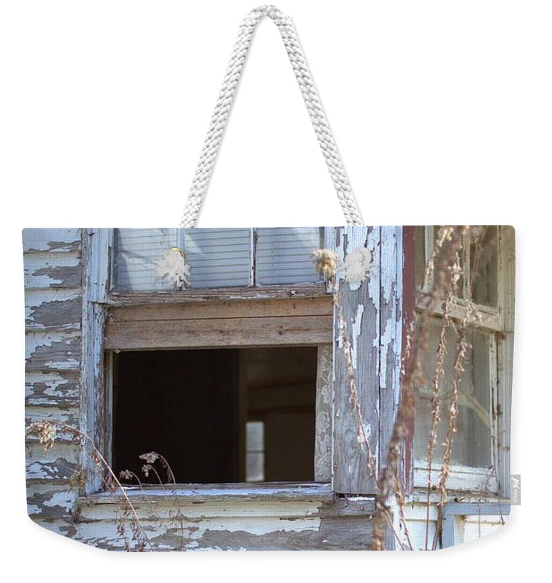 4189 Weekender Tote Bag featuring the photograph Old Windows Overlooking New World by Gordon Elwell