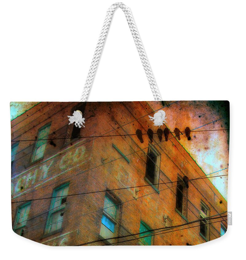 Abandoned Weekender Tote Bag featuring the photograph Old Wires by Gothicrow Images