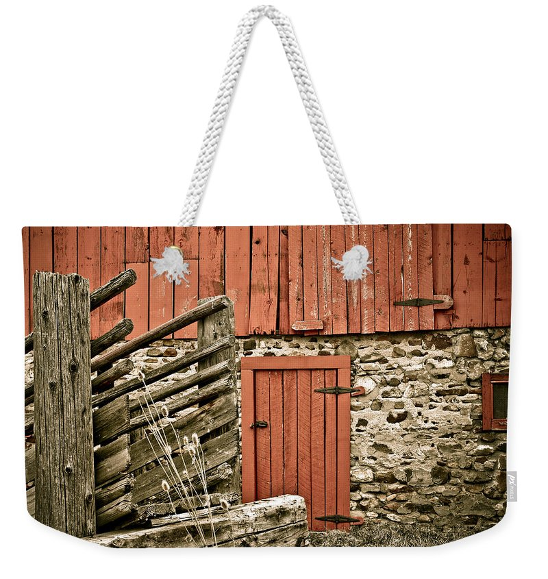 Old Weekender Tote Bag featuring the photograph Old Wood by Marilyn Hunt
