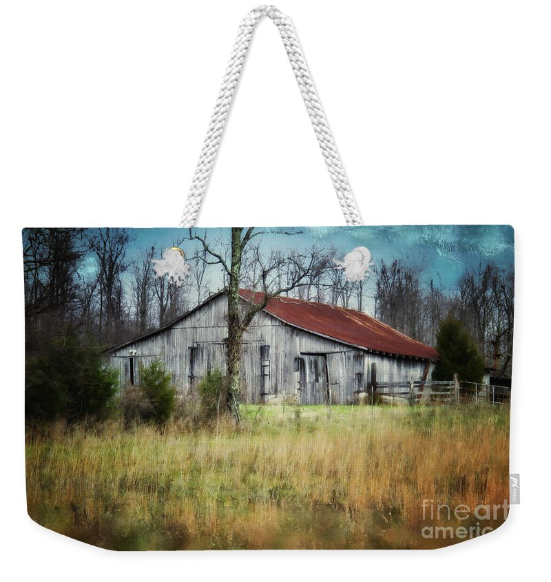 Barn Weekender Tote Bag featuring the photograph Old Wooden Barn by Betty LaRue