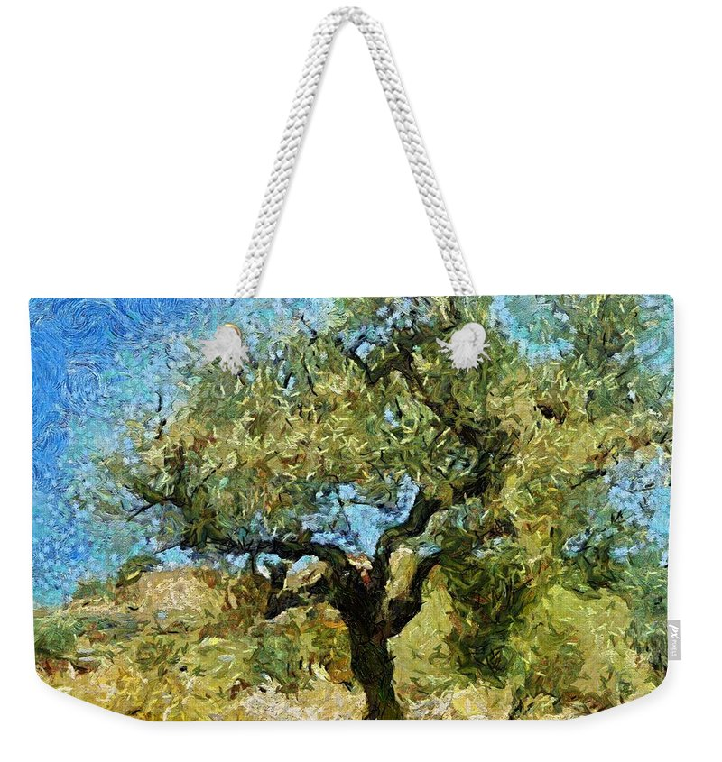 Landscapes Weekender Tote Bag featuring the mixed media Olive Tree On Van Gogh Manner by Dragica Micki Fortuna