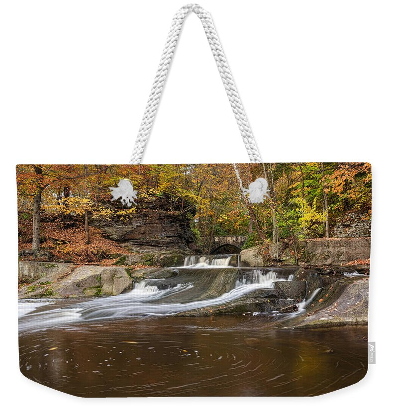 Landscape Weekender Tote Bag featuring the photograph Olmstead Falls by Dale Kincaid