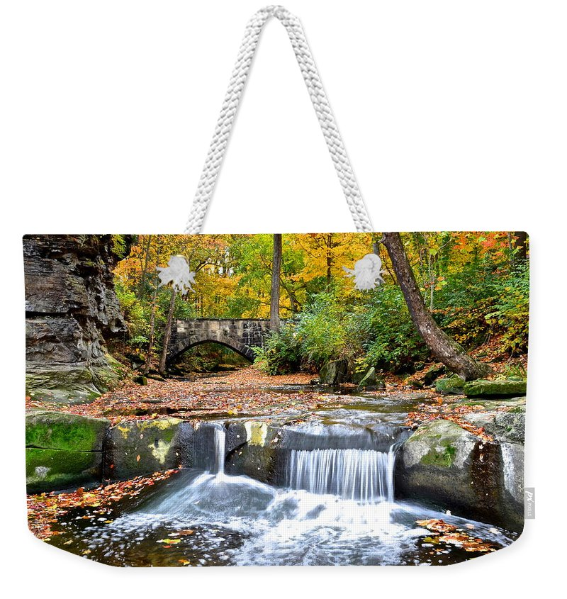 Autumn Weekender Tote Bag featuring the photograph Olmstead Falls Ohio by Frozen in Time Fine Art Photography