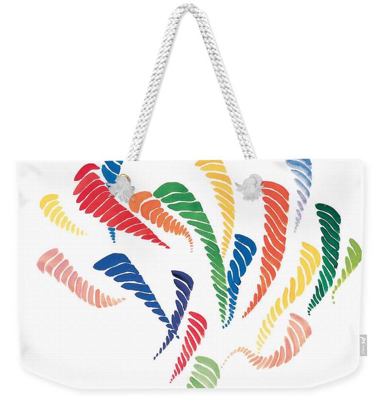Olympic Games Weekender Tote Bag featuring the painting Olympic Fire by Bjorn Sjogren