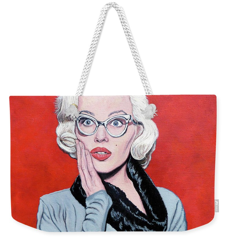 Omg Weekender Tote Bag featuring the painting OMG by Tom Roderick