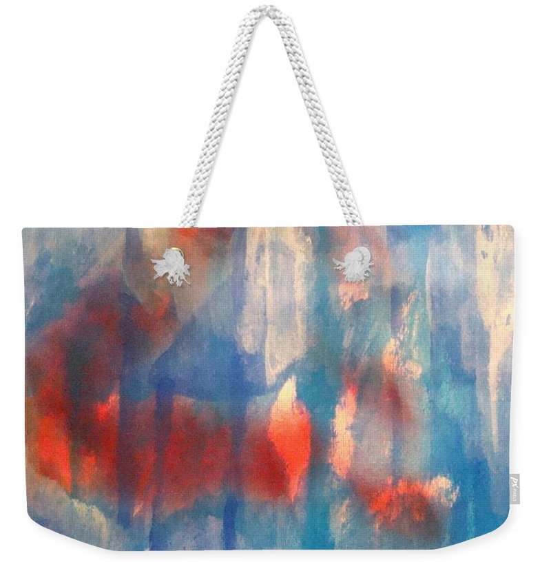 Christian Weekender Tote Bag featuring the painting On A Clear Day - Red Forever by W Todd Durrance