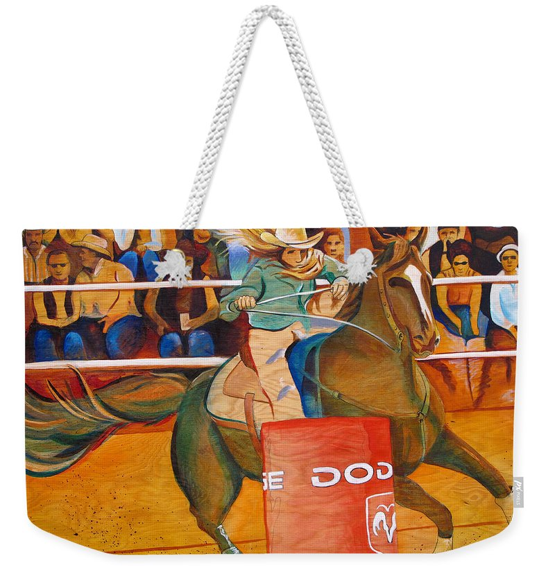 Horse Weekender Tote Bag featuring the painting On A Dime by Joshua Morton