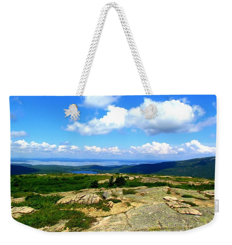 Sargent Mountain Weekender Tote Bag featuring the photograph On A Mountain In Maine by Elizabeth Dow