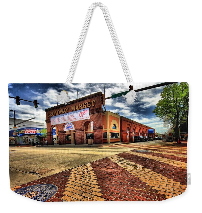 Architectural Art Weekender Tote Bag featuring the photograph On Broadway by Robert McCubbin