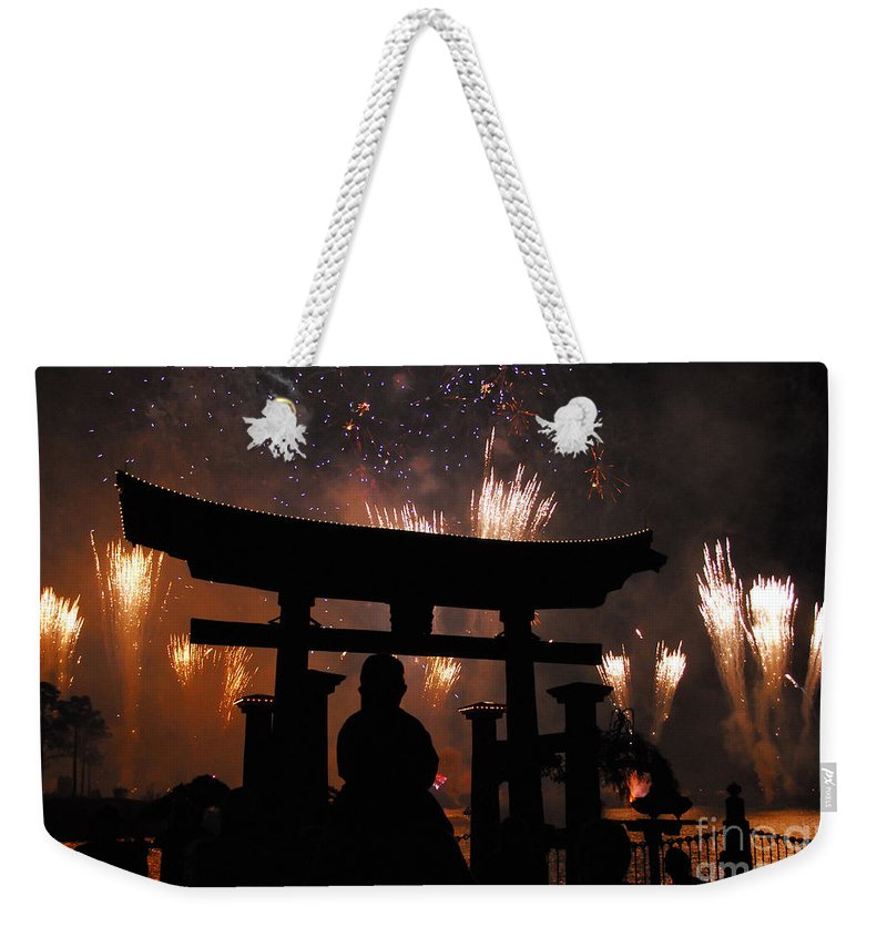 Father Weekender Tote Bag featuring the photograph On Dad's Shoulders by David Lee Thompson