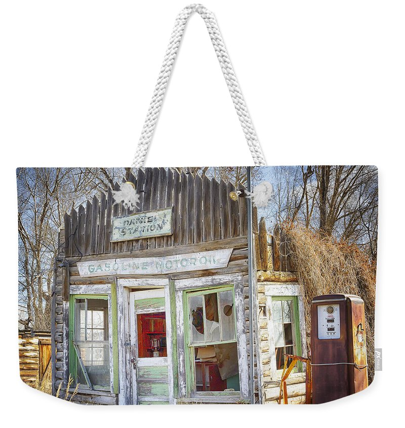Gas Station Weekender Tote Bag featuring the photograph On Empty by Elaine Haberland