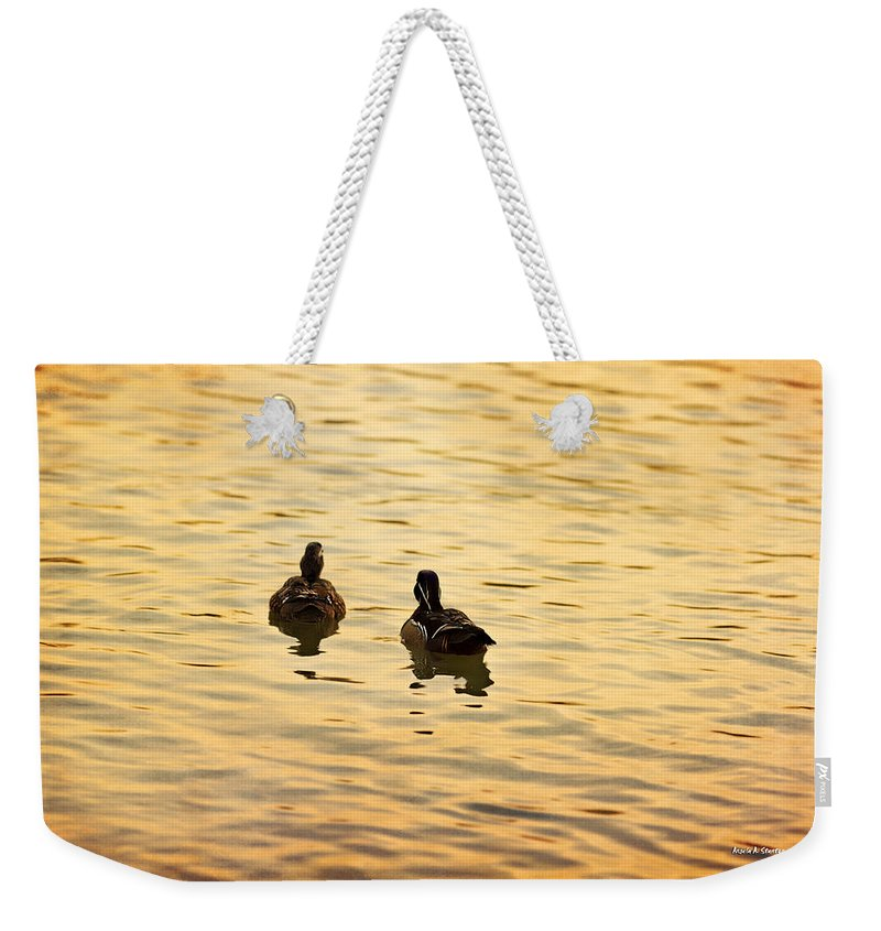 Texture Weekender Tote Bag featuring the photograph On Golden Pond Ducks by Angela Stanton