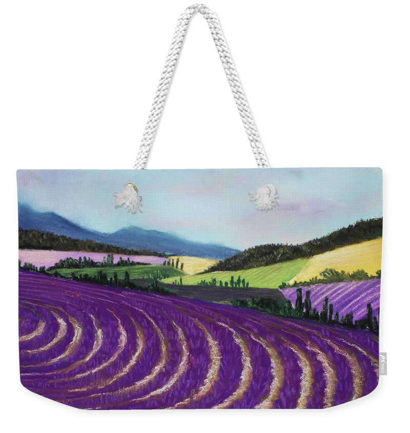 Interior Weekender Tote Bag featuring the painting On Lavender Trail by Anastasiya Malakhova