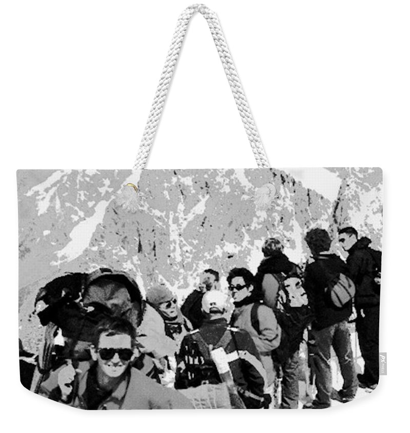 Film Black And White Photo Weekender Tote Bag featuring the digital art On Mount Blanc by Tim Richards