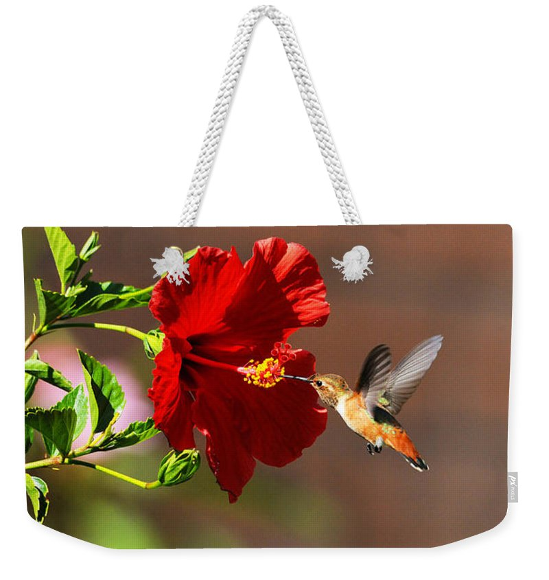 Hummers Weekender Tote Bag featuring the photograph On Target by Lynn Bauer