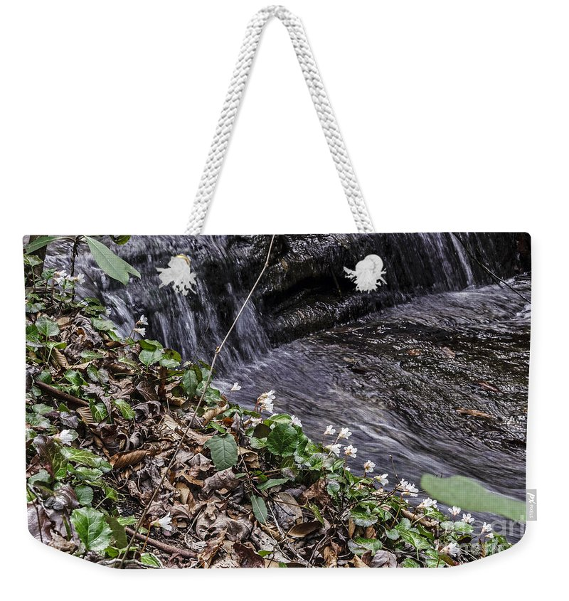 Oconee Bell Weekender Tote Bag featuring the photograph On The Banks Of The Rapids by Elvis Vaughn