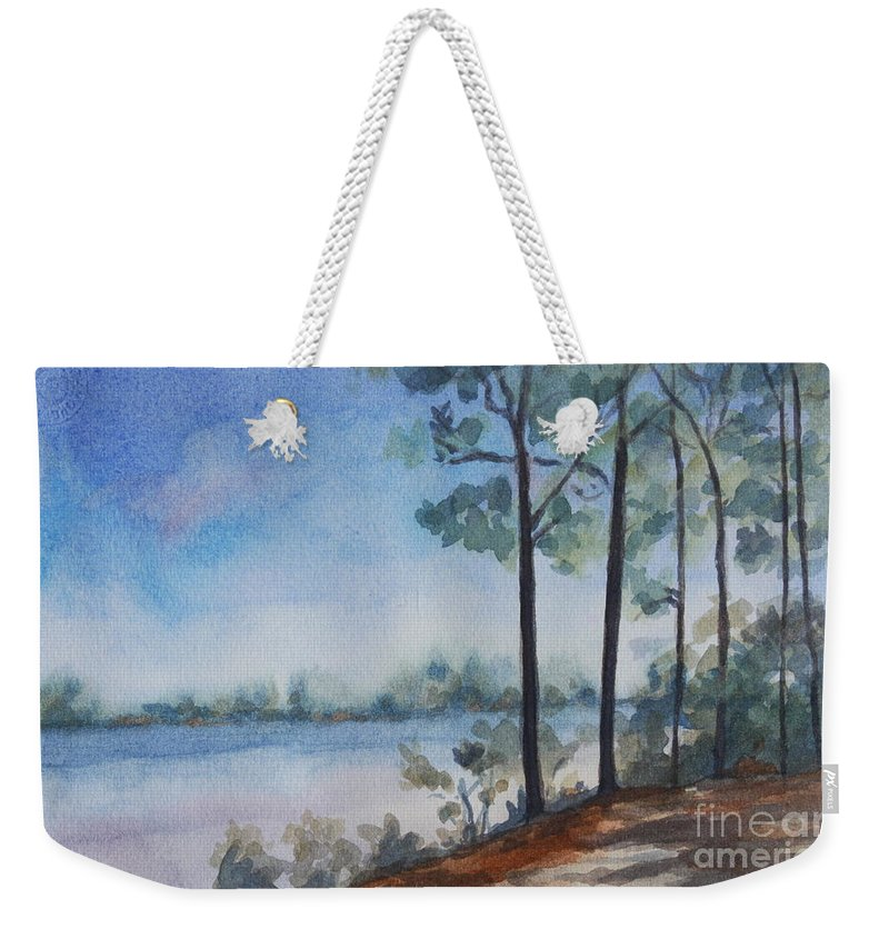 Landscape Weekender Tote Bag featuring the painting On the Bay by Jan Bennicoff