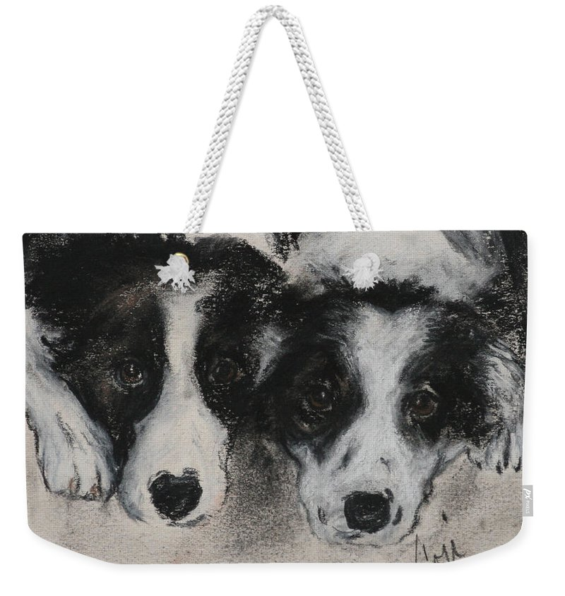 Border Collie Weekender Tote Bag featuring the drawing On The Border by Cori Solomon