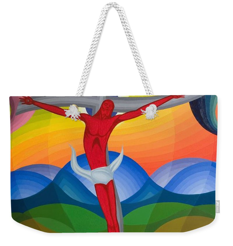 Jesus Christ Weekender Tote Bag featuring the painting On The Cross by Emil Parrag