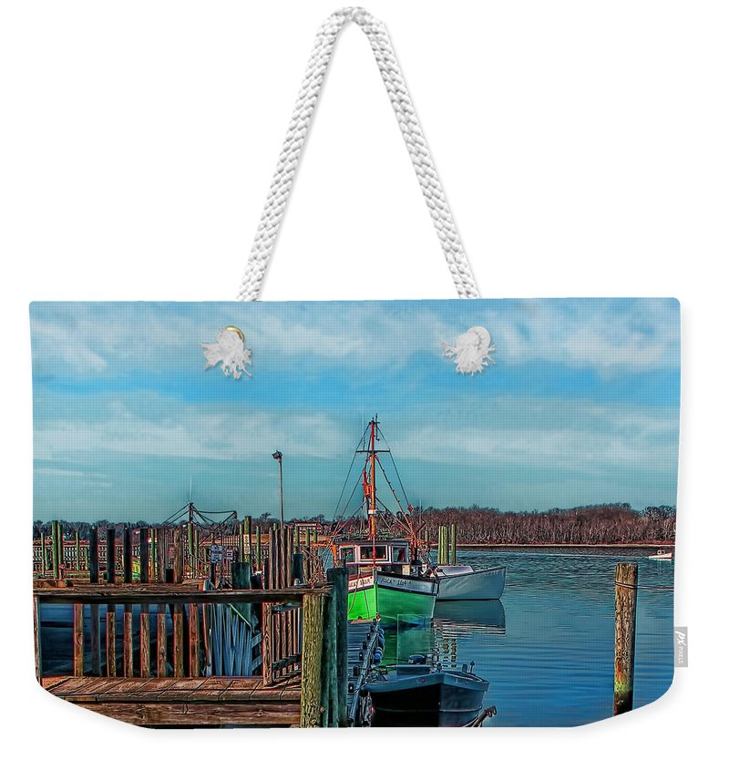 Photographs Weekender Tote Bag featuring the photograph On The Dockside Bristol Rhode Island by Tom Prendergast