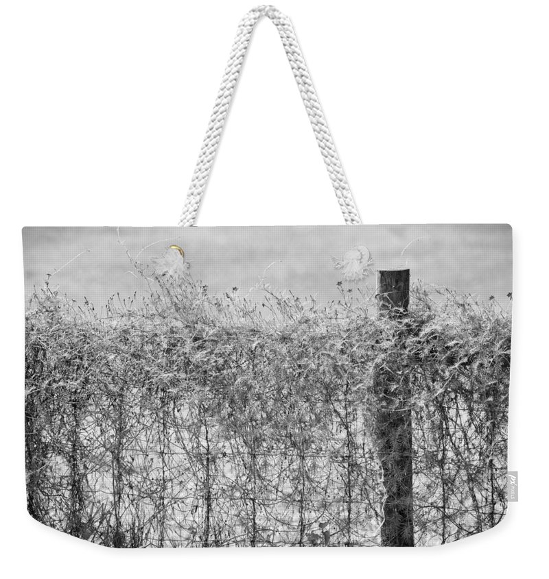 Wildflowers Weekender Tote Bag featuring the photograph On The Fence Bw by Carolyn Marshall