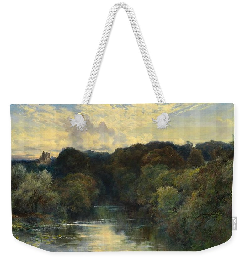 Sky Weekender Tote Bag featuring the painting On The Greta Yorkshire 1890 by Keeley Halswelle