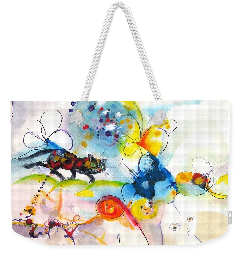 Mixed Media Weekender Tote Bag featuring the painting On The Prowl by Mary Armstrong