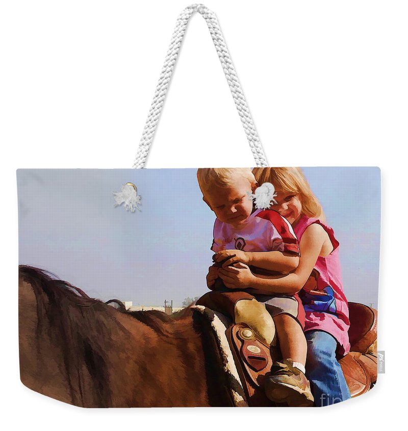 Children Weekender Tote Bag featuring the photograph On The Ranch by Tommy Anderson