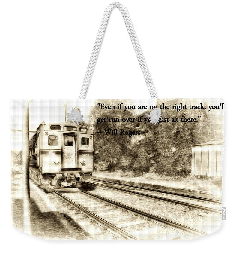 On The Right Track Weekender Tote Bag featuring the photograph On The Right Track by Bill Cannon